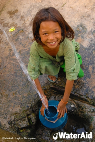 "photo of a little girl filling a pot with water from a spout with the title ""WaterAid"""