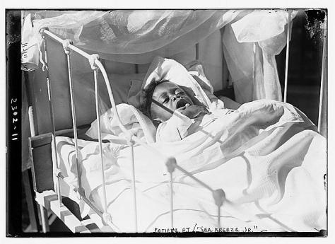 """Photo shows """"Junior Sea Breeze"""" a summer hospital for babies run by the Association for Improving the Condition of the Poor, supported by John D. Rockefeller. The hospital was located at 64th Street and the East River, New York City."""