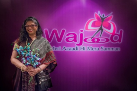 Philanthropist and advocate Indrani Goradia at the launch of Wajood– a partnership between Indrani's Light Foundation and PSI India to address violence against women in New Delhi, India. In Hindi, Wajood translates to – Identity.