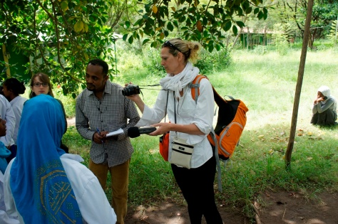 Journalist, Elizabeth Atalay interviews a midwife in training