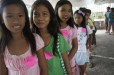 Girls at a World Vision Christmas event in the Philippines