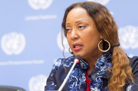 Nafissatou J. Diop, Senior UNFPA Adviser and Coordinator of the UNFPA-UNICEF Joint Programme on Female Genital Mutilation, addresses a press conference on the subject of engaging health workers to end (FGM). The press conference took place on the International Day of Zero Tolerance of Female Genital Mutilation (6 February).