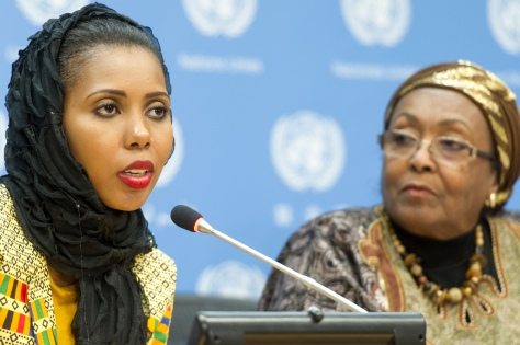 Jaha Dukureh (left), activist and survivor of Female Genital Mutilation (FGM), addresses a press conference on the subject of engaging health workers to end (FGM). At her side is Edna Adan Ismail, Nurse-Midwife, Director and Founder of the Edna Adan Maternity Hospital in Hargeisa, Somaliland. The press conference took place on the International Day of Zero Tolerance of Female Genital Mutilation (6 February).