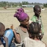 Girls getting water in Ethiopia